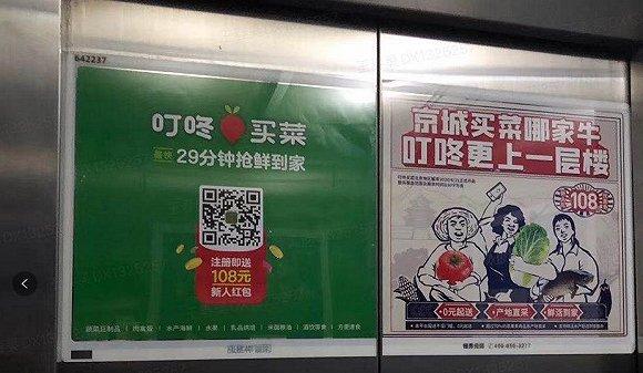 叮咚买菜在北京地区的电梯广告,图片来源:受访者提供